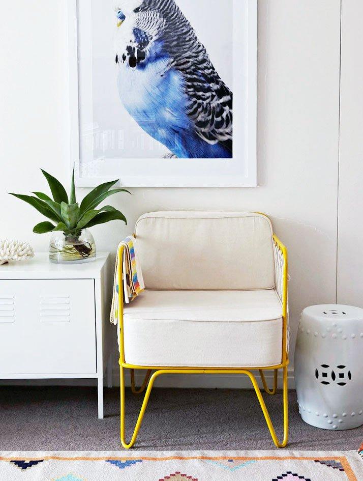 Leila Jeffreys bird portrait above a modern yellow chair.