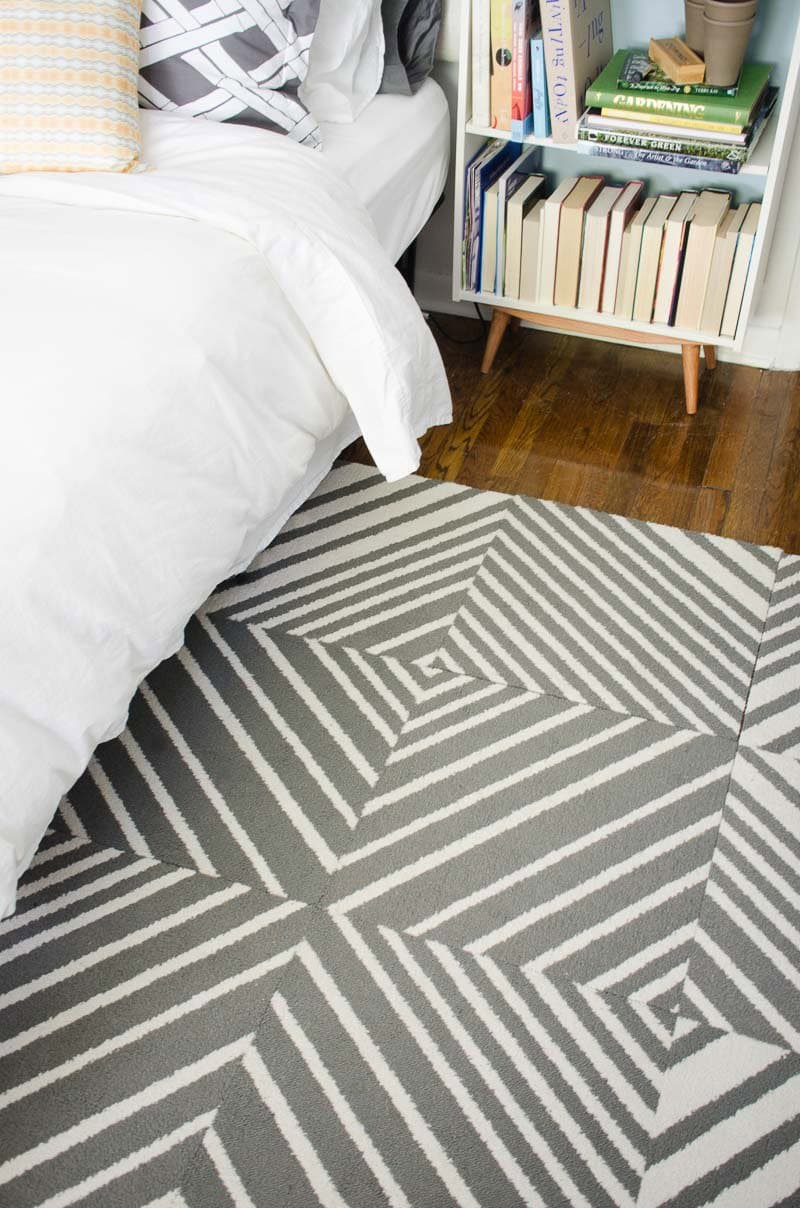 Modular rug tiles in geometric gray striped pattern from @FLORSquares