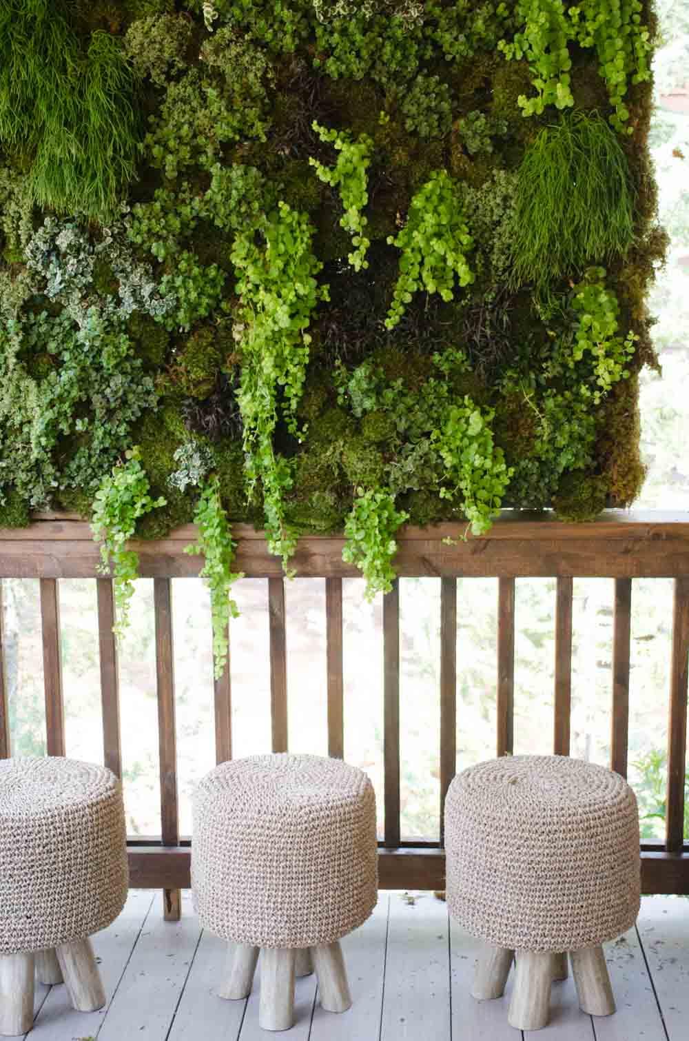 Hanging moss planter on porch