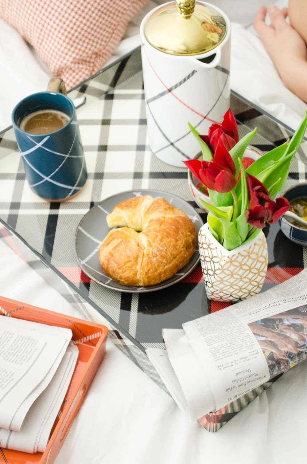 Cozy breakfast in bed with the new Target plaid collection on @thouswellblog