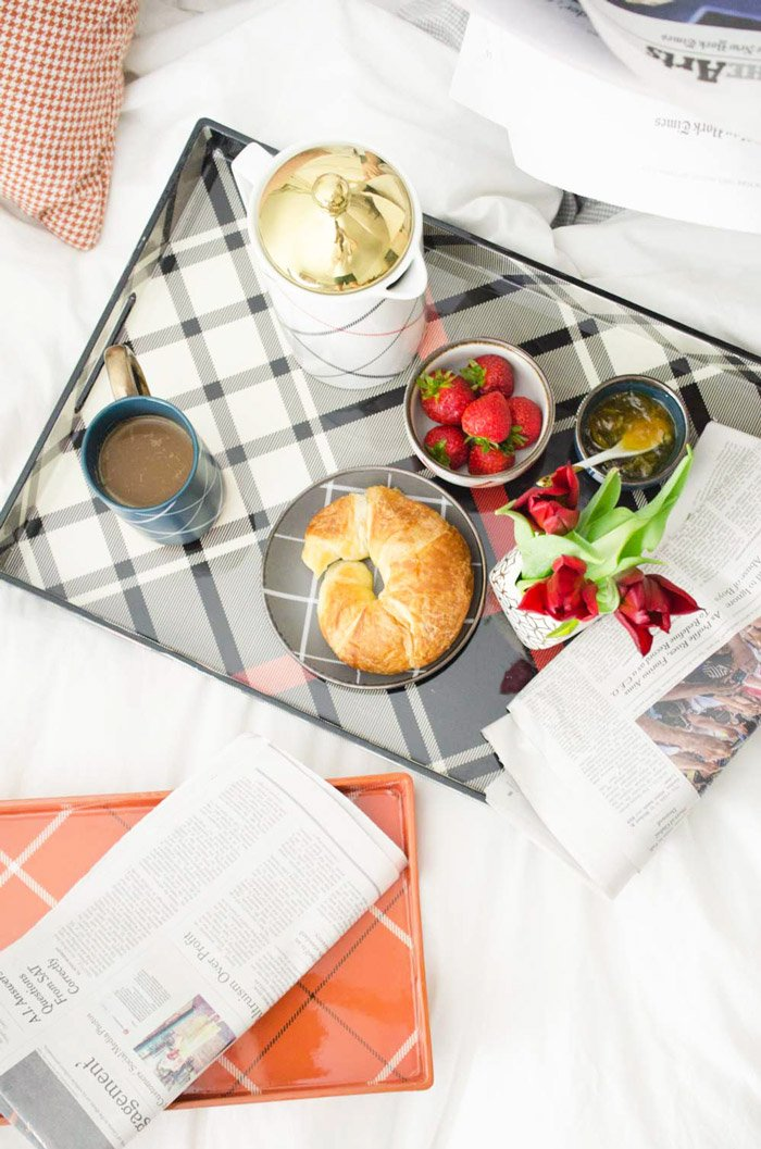 Cozy plaid breakfast in bed with Target's fall collection on @thouswellblog