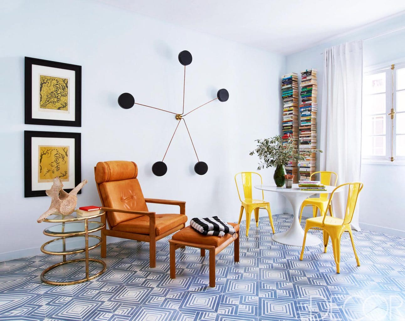 Bright playful living room at home with Moroccan tile designers.