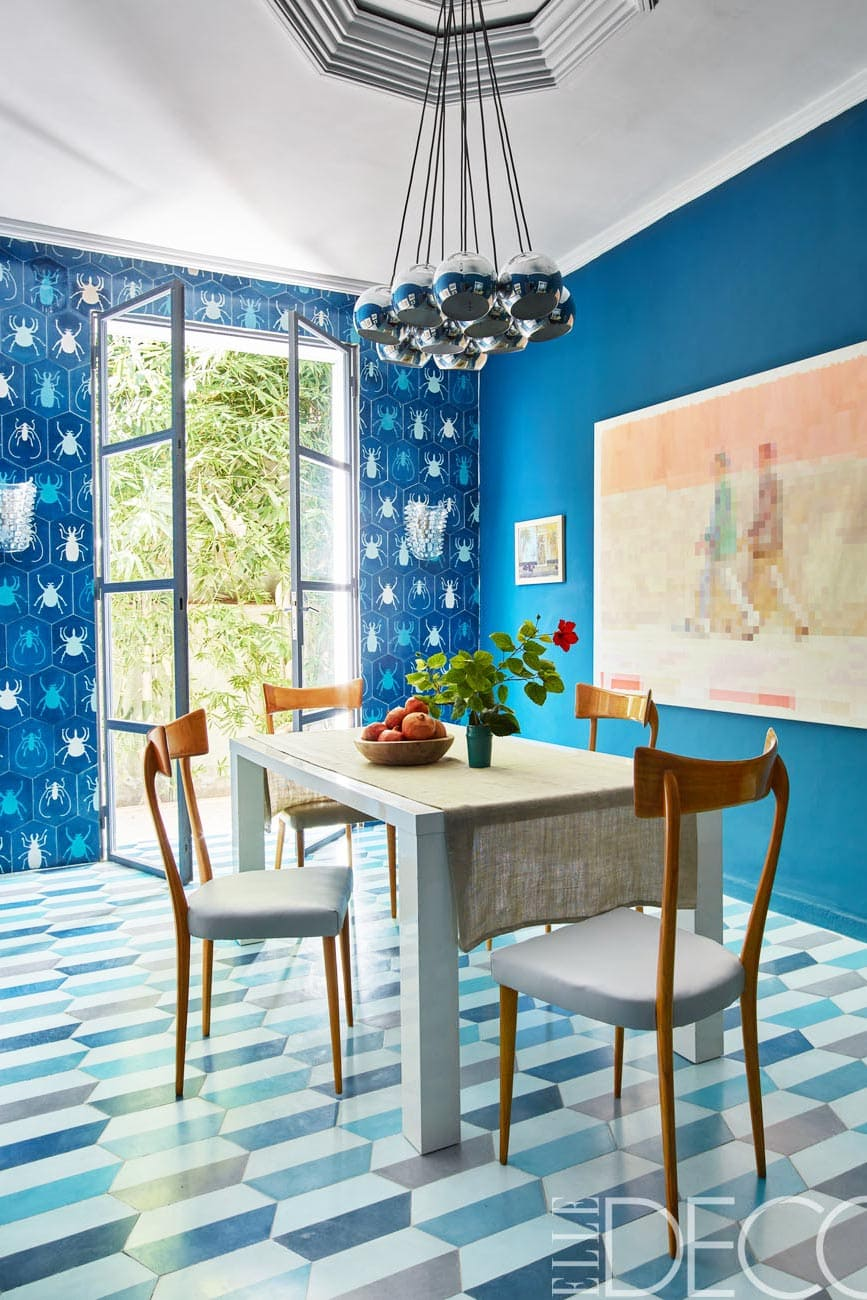 Bold patterned dining room of Moroccan tile designers.