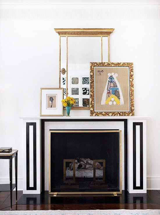Suzanne Kasler S Graphic Black And White Fireplace Mantel Via Thouswellblog