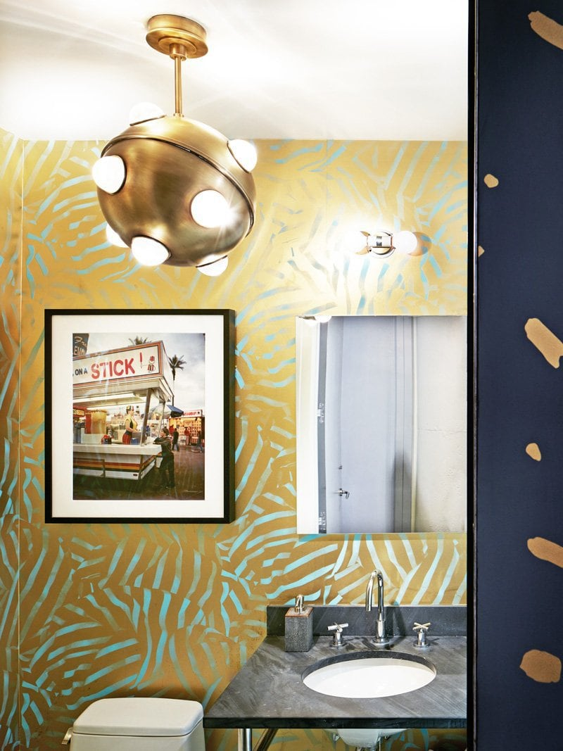 Beau Gold Wallpaper With Jonathan Adler Light Fixture In The Bathroom Via  @thouswellblog