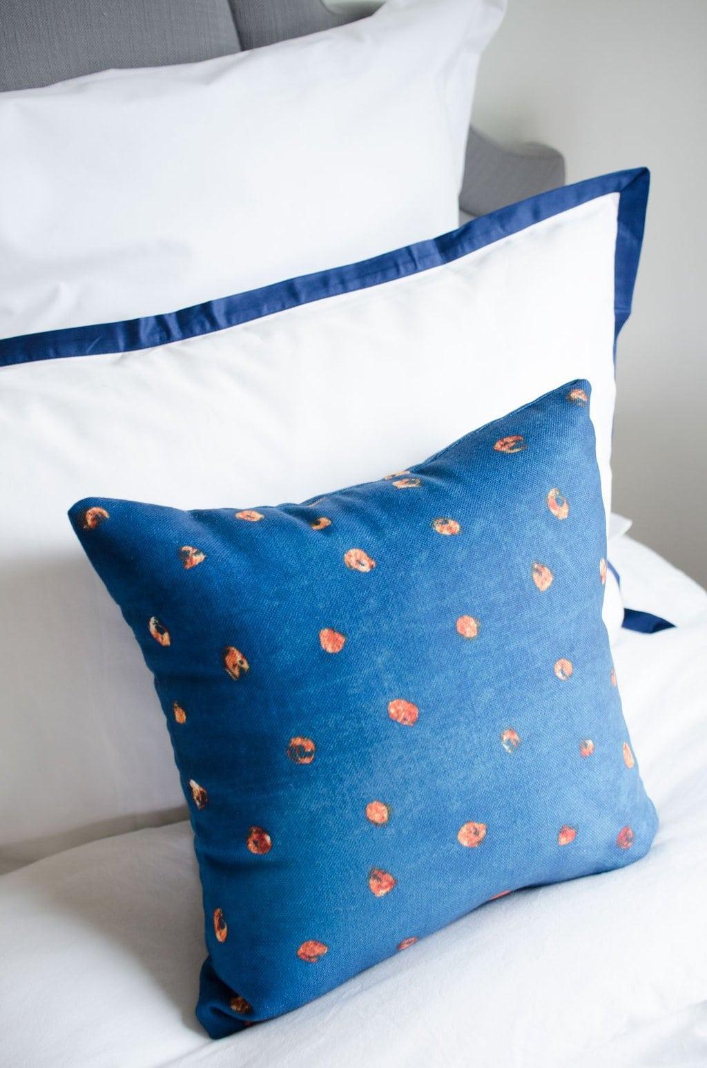 Gold dot blue throw pillow via @thouswellblog