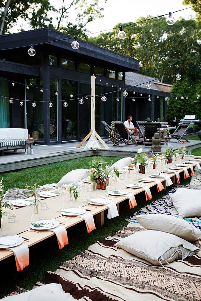 Summer dinner party with string lights via @thouswellblog