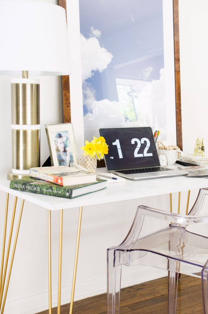 How to make a DIY desk with gold hairpin legs from PrettyPegs on @thouswellblog