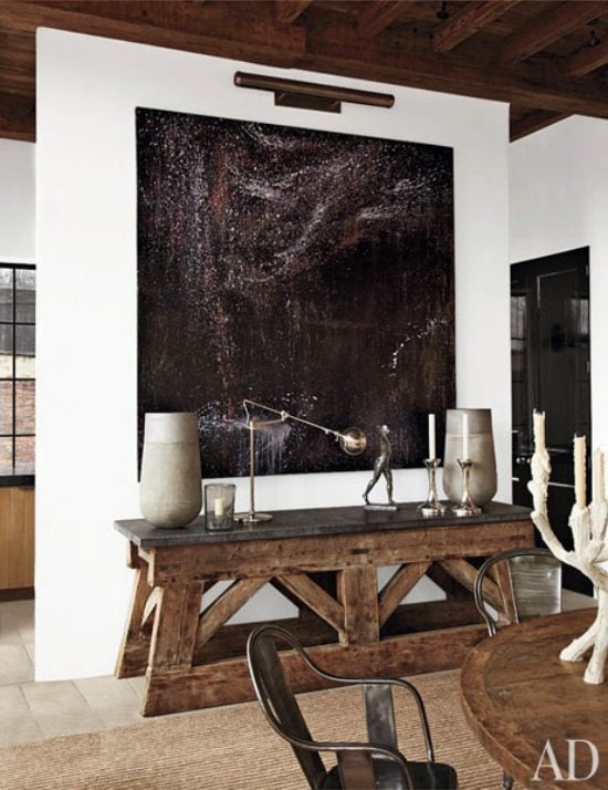 modern rustic apartment with modern painting via thouswellblog - Rustic Apartment 2016
