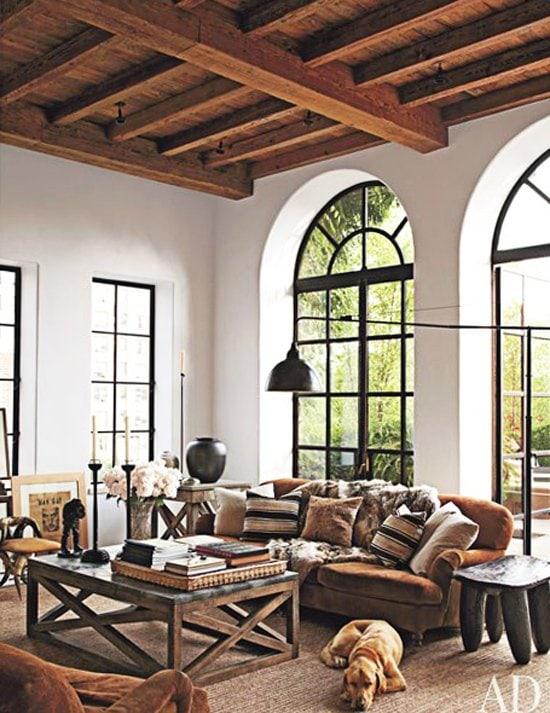 Rustic Modern Living Room With Timber Ceiling Ralph Lauren Home Sofa Via Thouswellblog