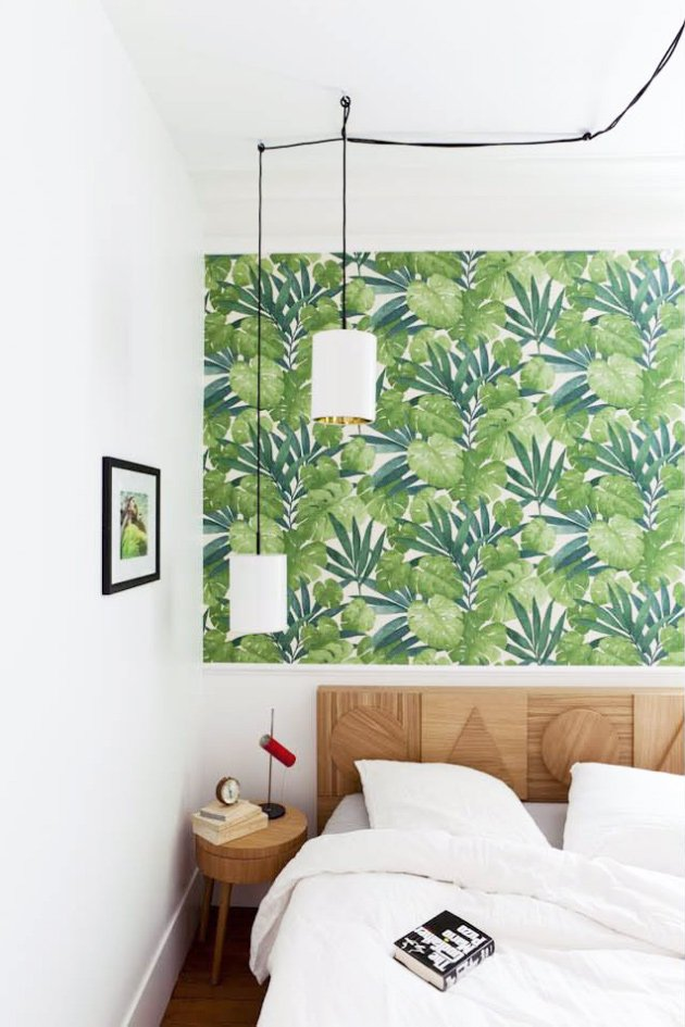 Modern Bedroom With Tropical Wallpaper Via Thouswellblog