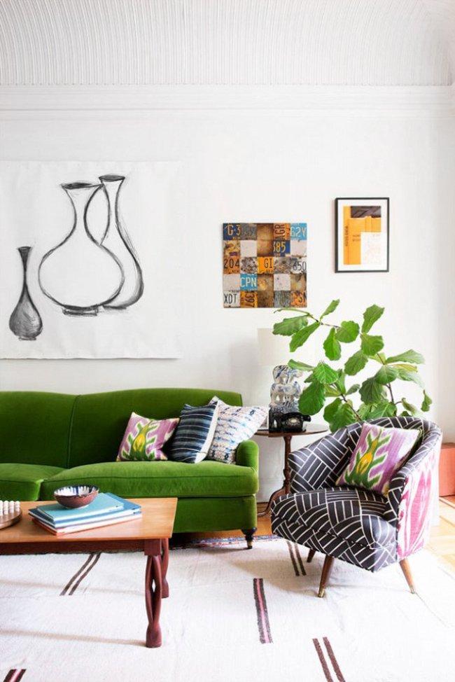 Tips For Mixing Pattern With Steve Mckenzie Green Velvet Sofa In A Bohemian Living Room