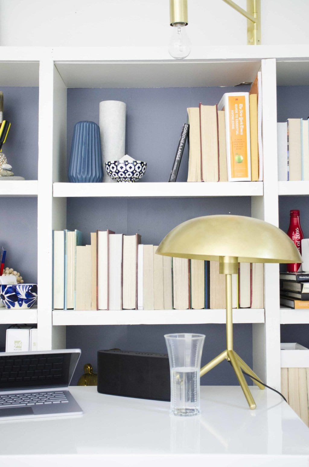 Modern Home Office With Diy Bookshelf And Standing Desk On Thouswellblog