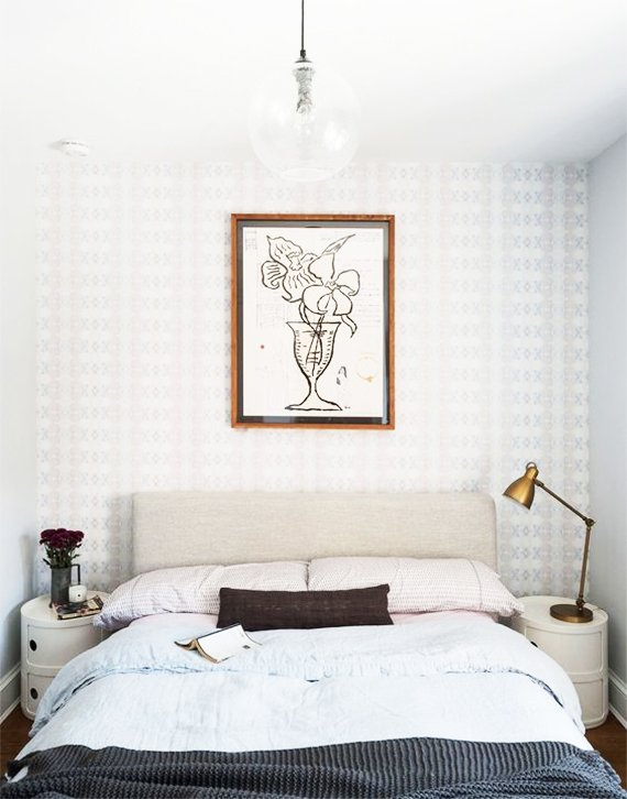 College bedroom inspiration with wallpaper and simple bedding via @thouswellblog