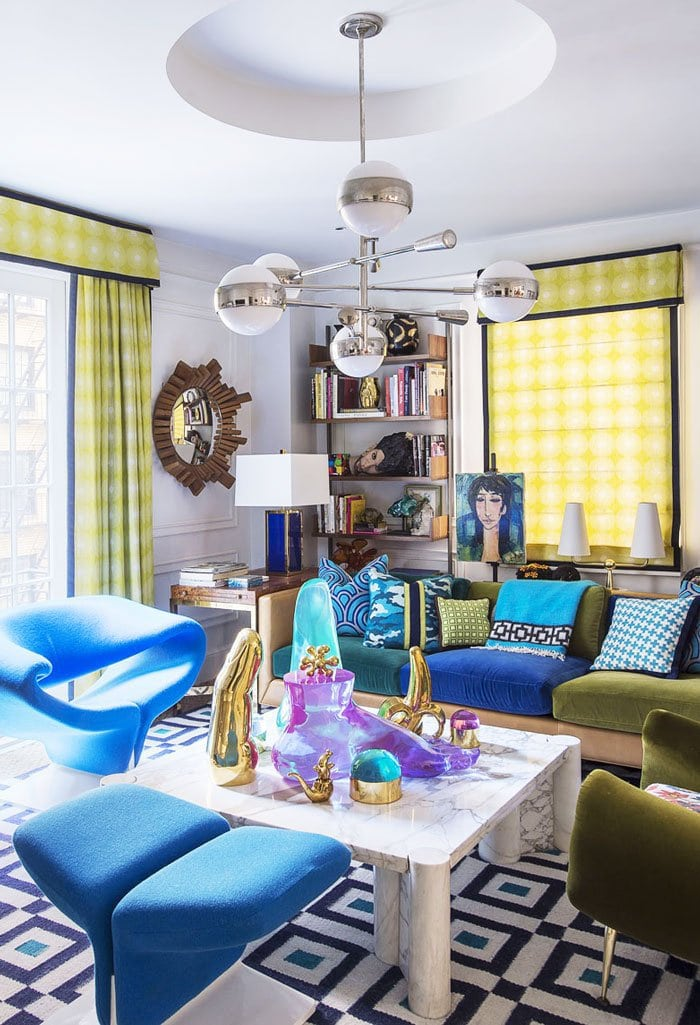 Colorful Modern Living Room Design In Jonathan Adler S Nyc Apartment Via Thouswellblog