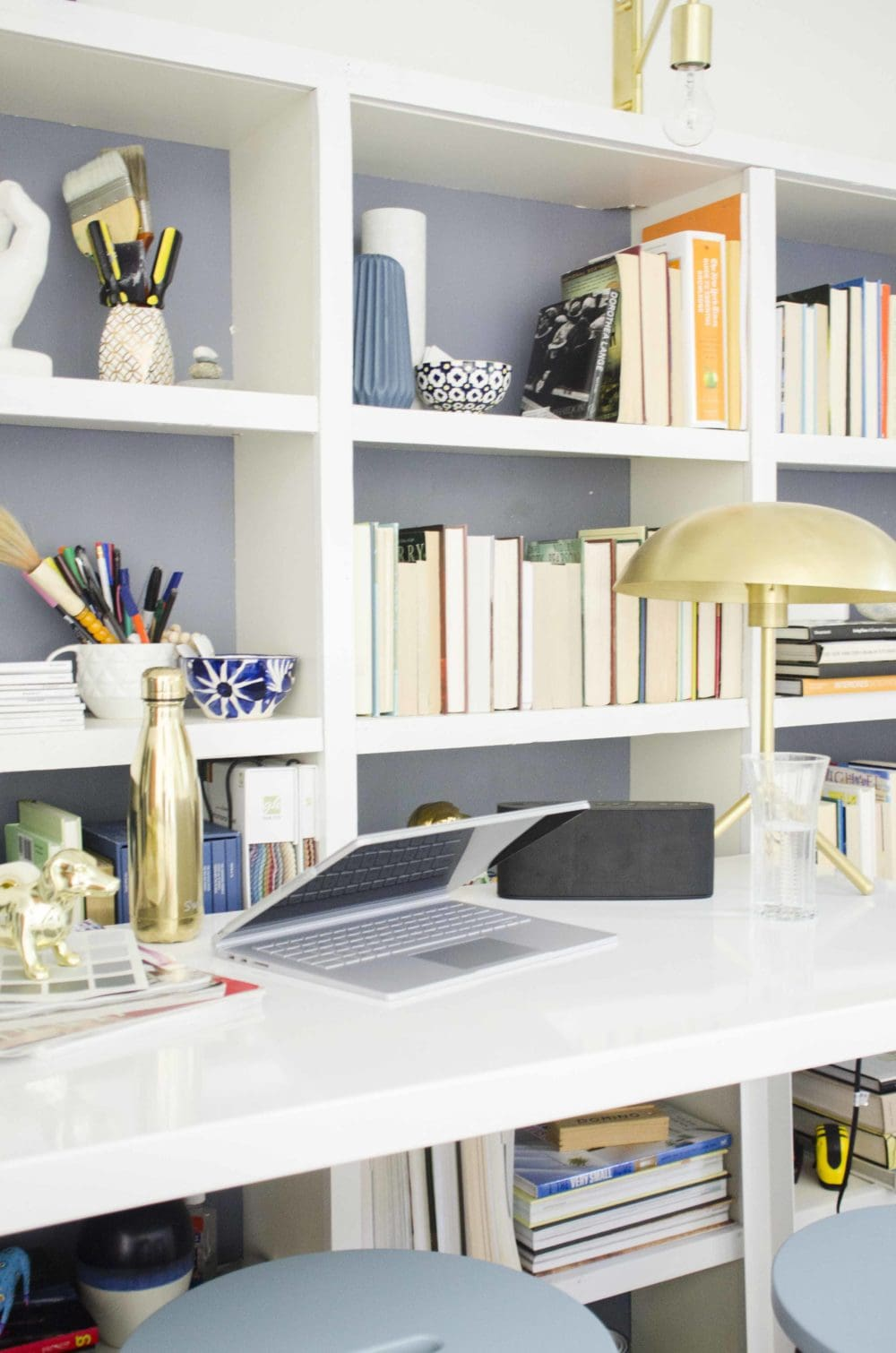 Home office standing desk Adjustable Height Modern Standing Desk Home Office With Bookshelves On thouswellblog Thou Swell Designing Modern Standing Desk Office Thou Swell