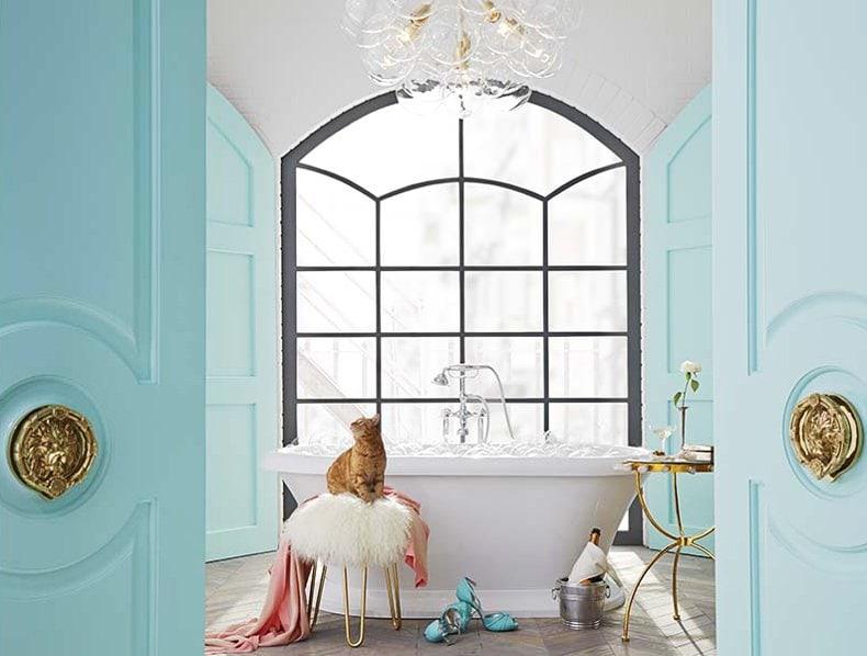 Bathroom inspired by Tiffany blue by Lisa Mende Design via @thouswellblog