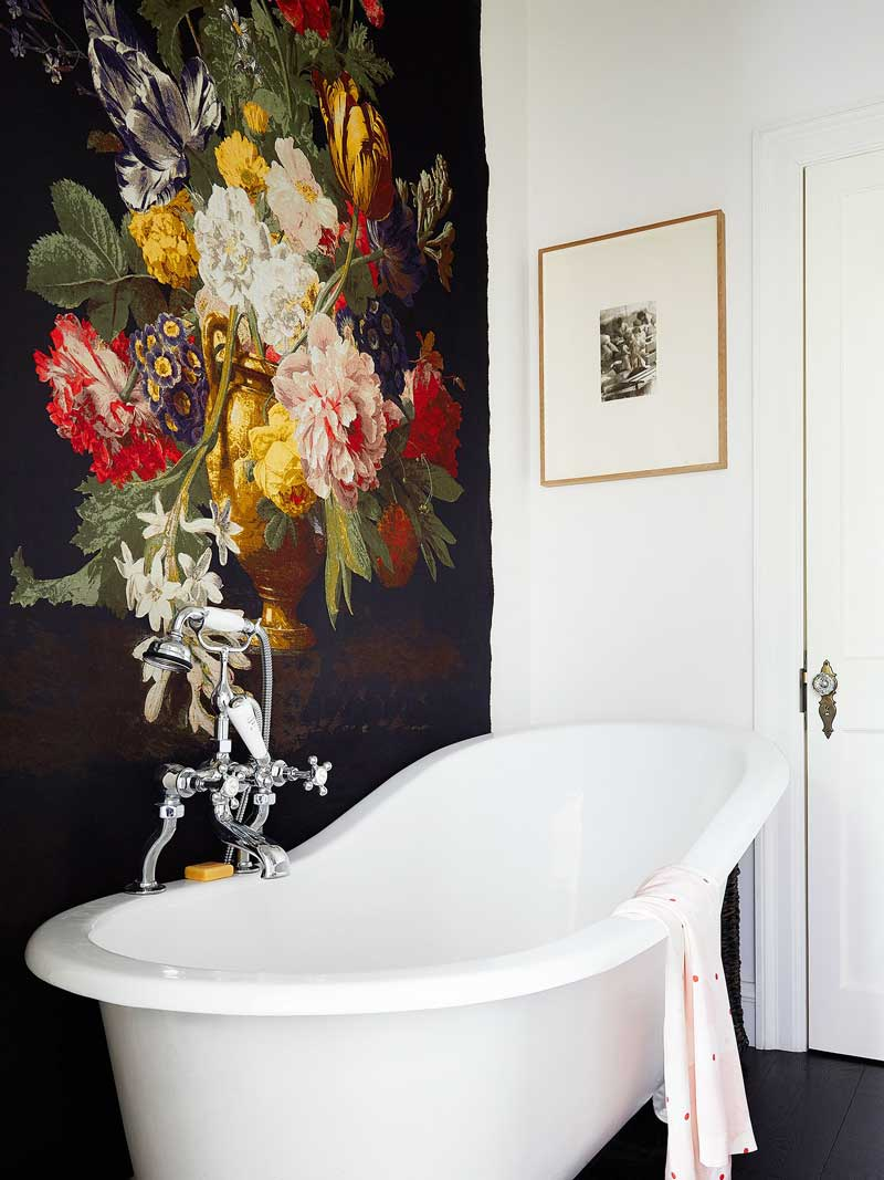 Statement wallpaper accent wall in bathroom via @thouswellblog