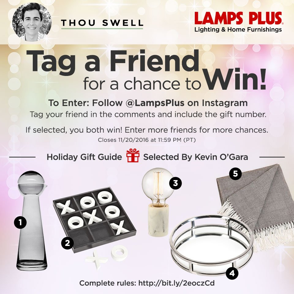 Lamps Plus holiday gift guide sweepstakes, home decor giveaway on Thou Swell
