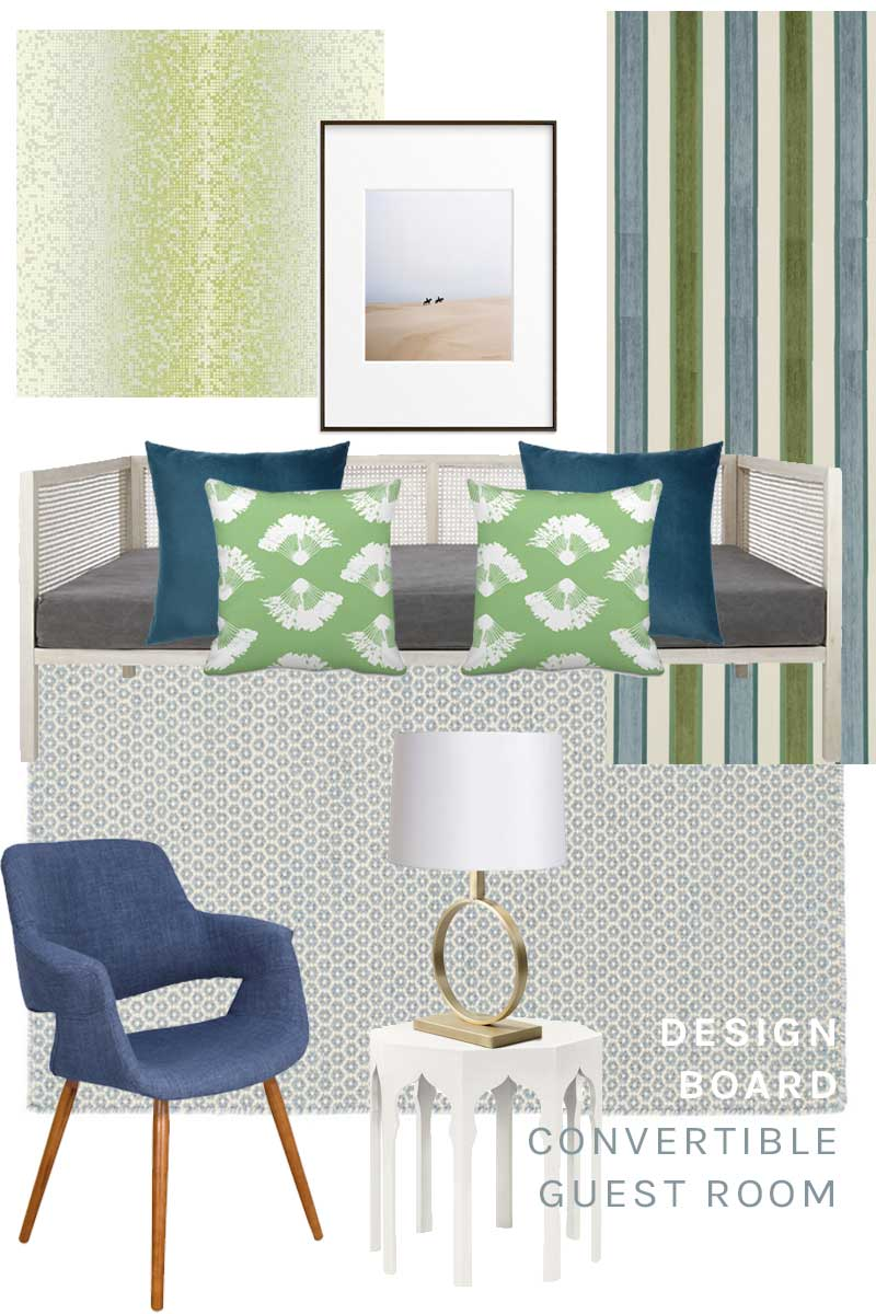Convertible guest room design board in green and blue via Thou Swell