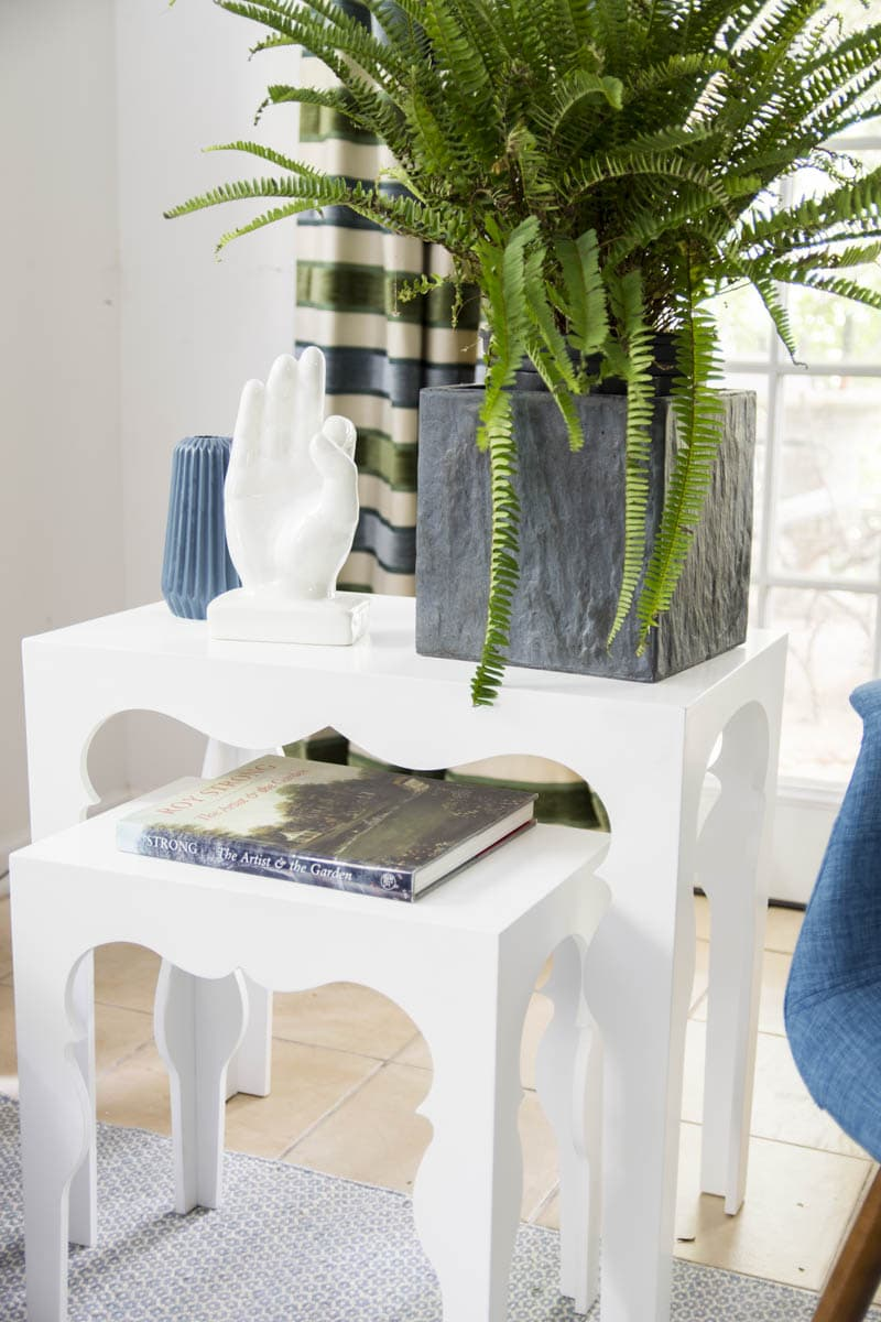 White Moroccan style side tables on Thou Swell