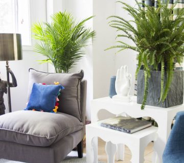 Blue green guest room with fern, palm, and Moroccan side tables on Thou Swell #blueandwhite #livingroom #guestroom #guestbedroom #homedecor
