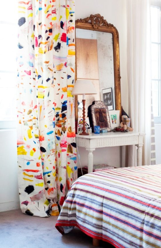 Brushstroke decor trend, Arty Linen fabric by Pierre Frey in an eclectic bedroom on Thou Swell @thouswellblog