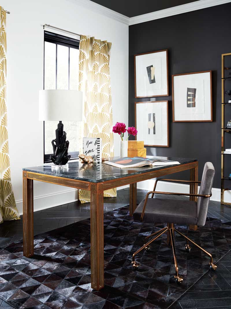 cb2 office. Modern Office Design With Gold Perforated Desk On Thou Swell @thouswellblog Cb2