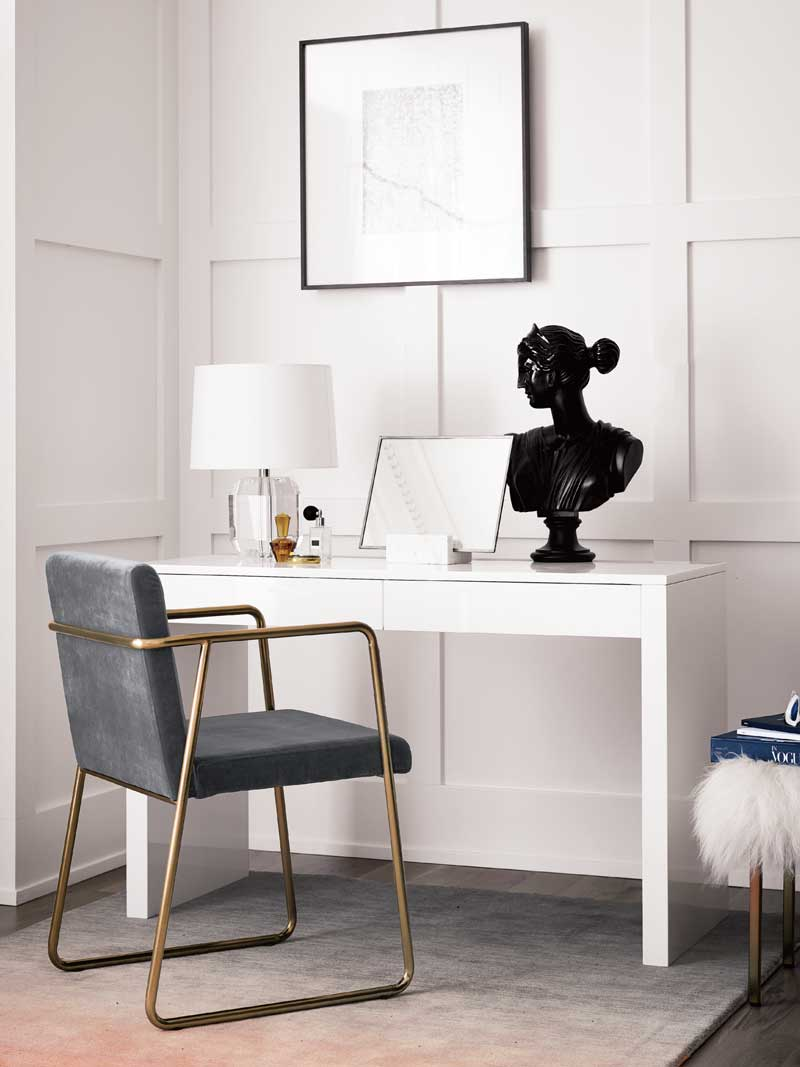 cb2 office. Simple Classic Office With Console Table And Gold Chair On Thou Swell @thouswellblog Cb2 T