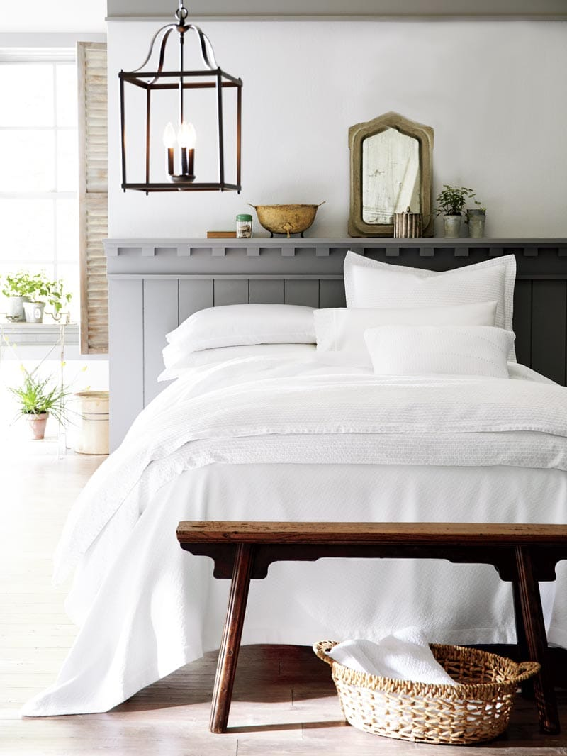 Modern rustic bedroom with Peacock Alley bedding on Thou Swell @thouswellblog