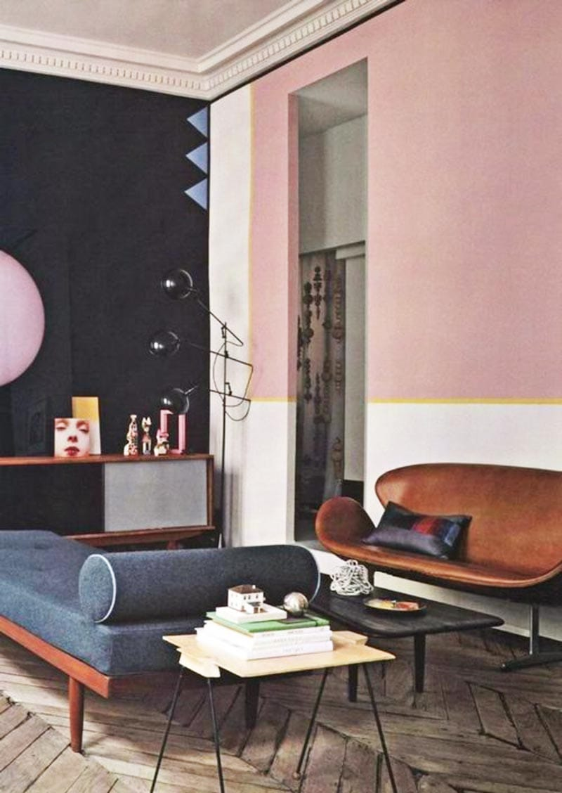 Vintage Living Room With Pink Accent Wall And Blue Daybed On Thou Swell Thouswellblog