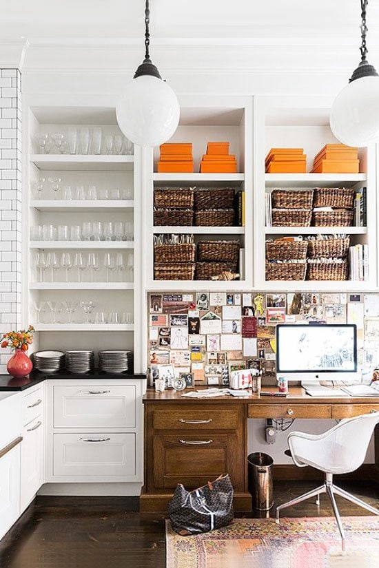Wicker baskets storage in a home office built-in shelves on Thou Swell @thouswellblog