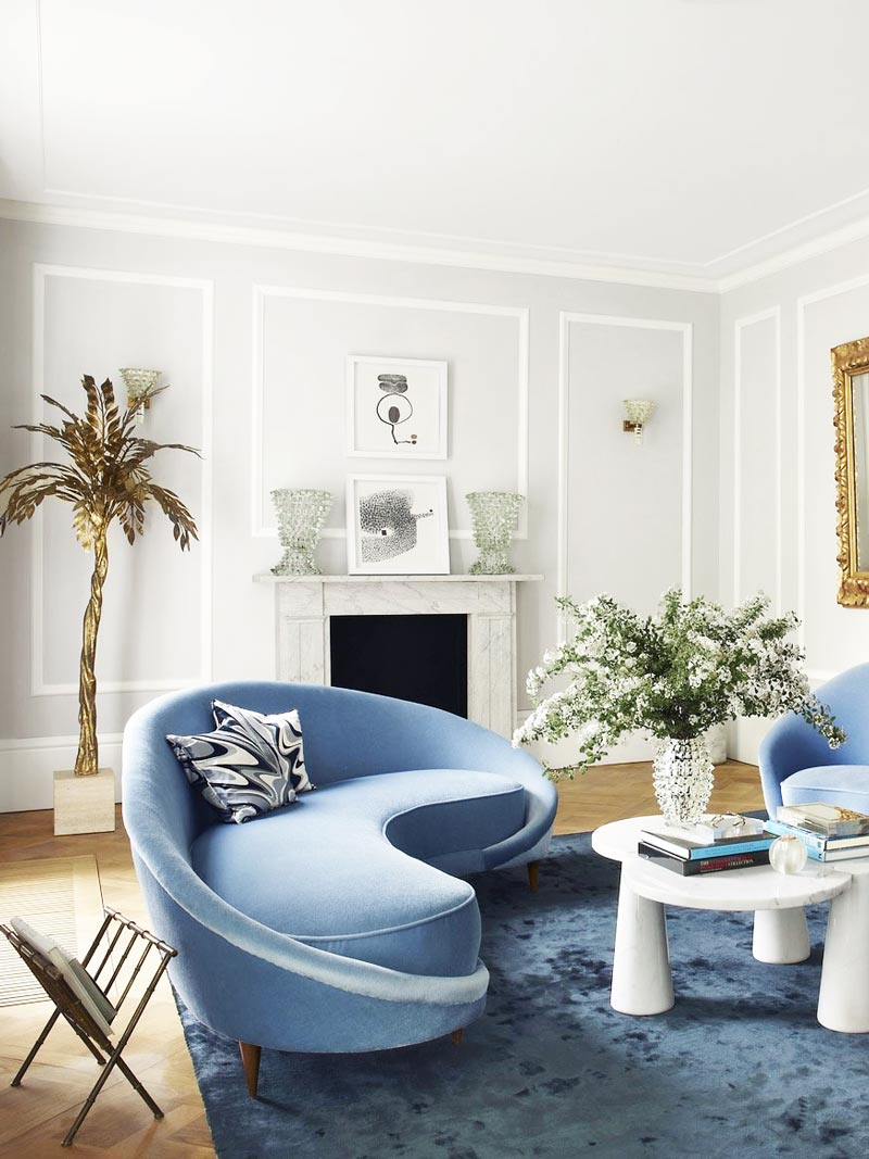 Contemporary Blue Living Room With Curved Sofa And Maison Jansen Brass Palm  Tree Lamp On Thou