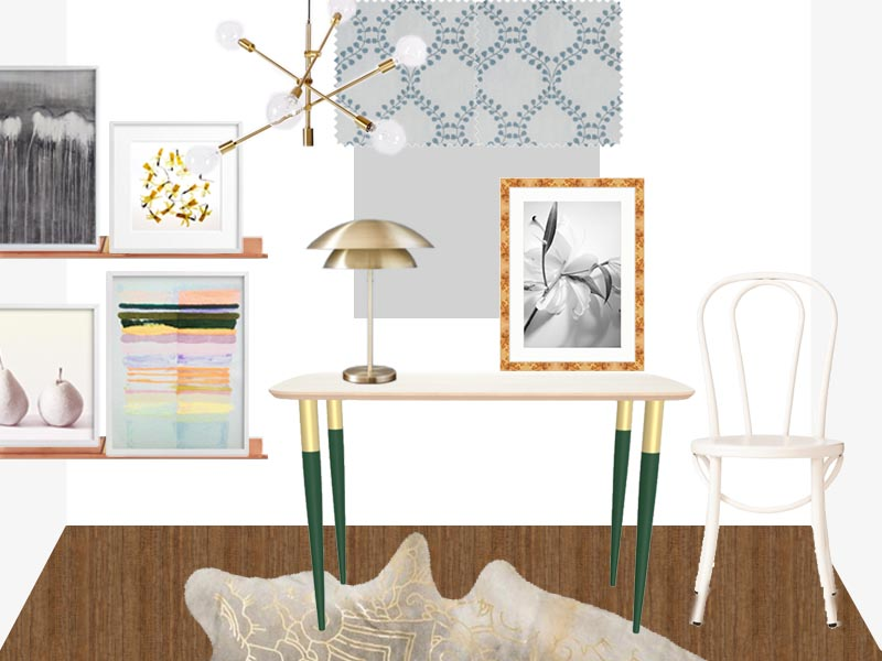 Modern white bedroom workspace design with hide rug and gold decor on Thou Swell @thouswellblog