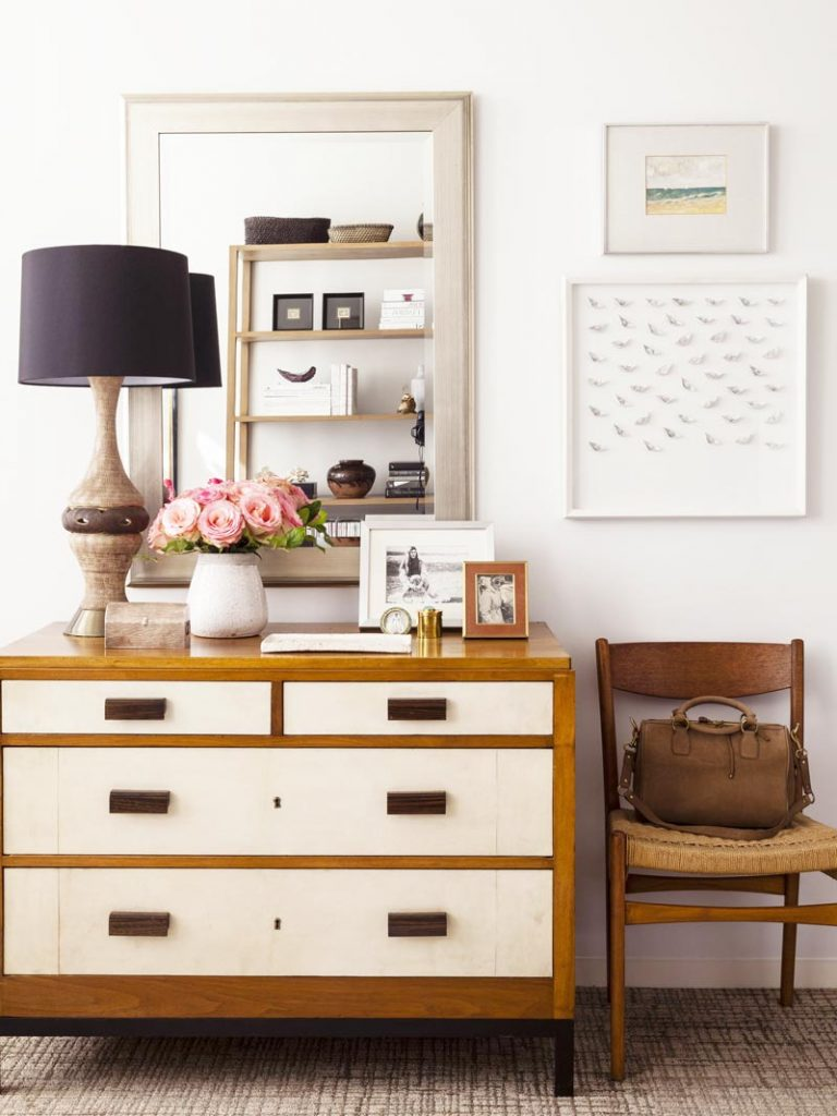 Vintage French dresser and table lamp with black shade - how to choose bedroom lighting on Thou Swell @thouswellblog