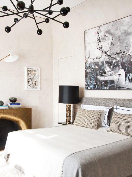 French bedroom with modern black chandelier - how to choose bedroom lighting on Thou Swell @thouswellblog