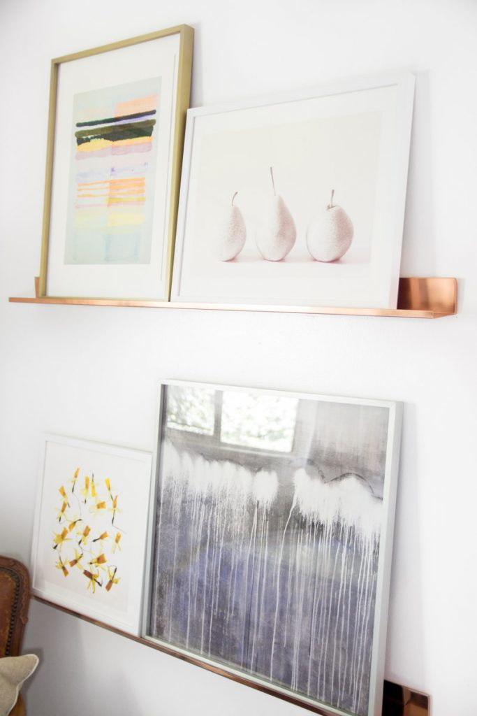 Copper art shelves with framed prints from Minted on Thou Swell @thouswellblog