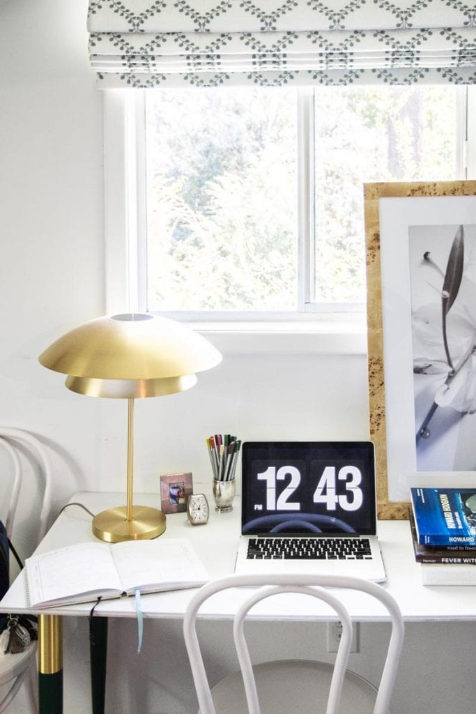 Easy DIY desk with green and gold desk legs from PrettyPegs on Thou Swell @thouswellblog