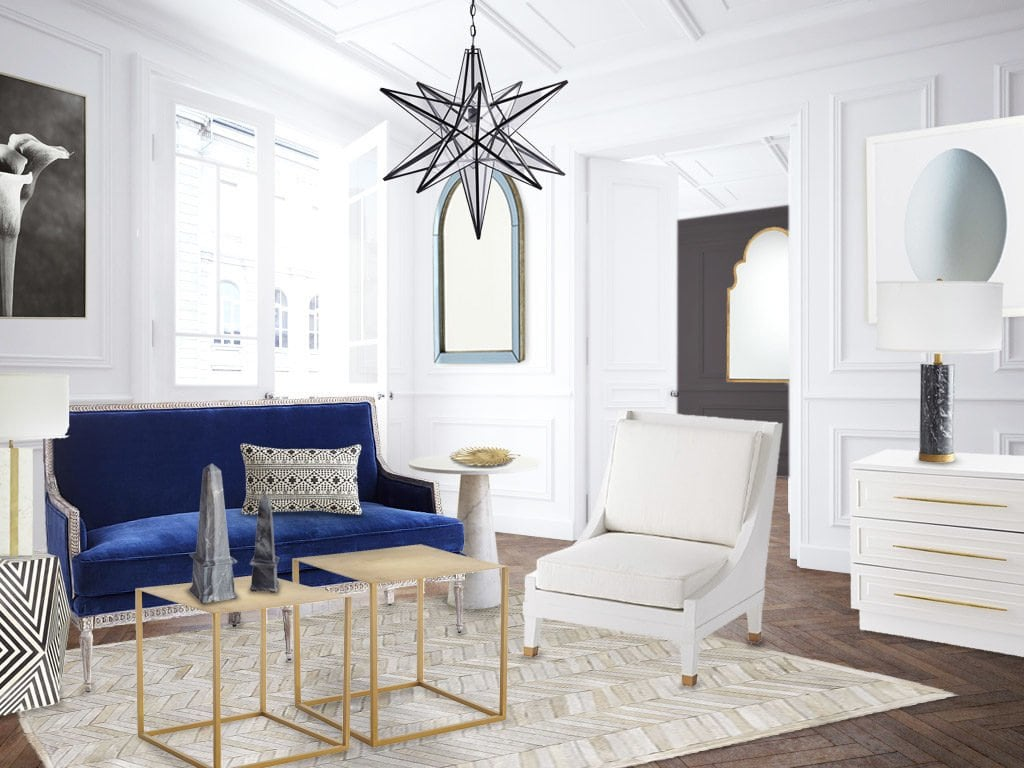A Fresh Blue and White Living Room Design - Thou Swell