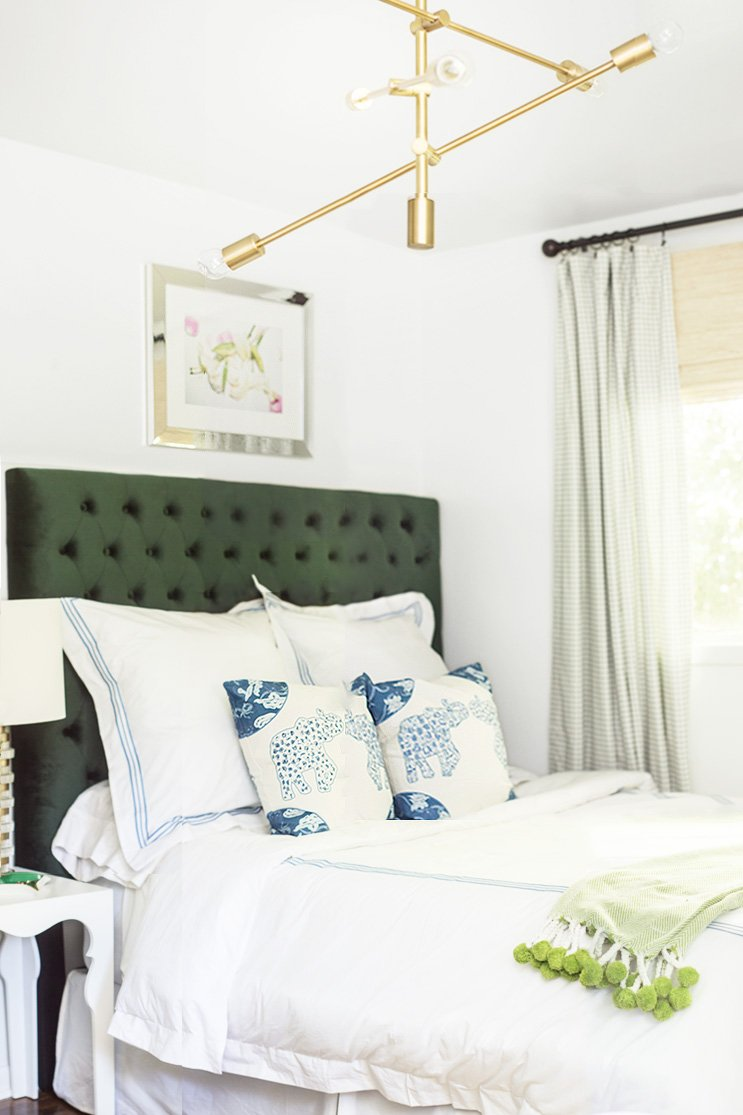 Blue and green bedroom makeover with tufted headboard on Thou Swell @thouswellblog