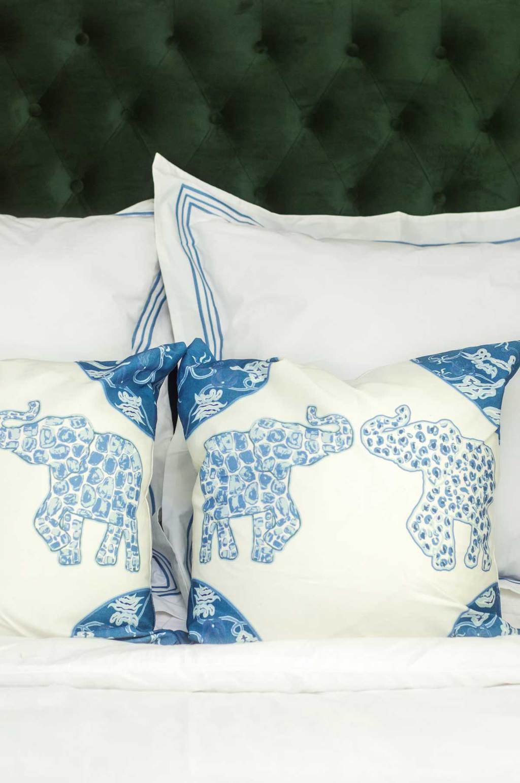 Blue and white Elephant pillows by Shelby Dillon Studio on Thou Swell @thouswellblog