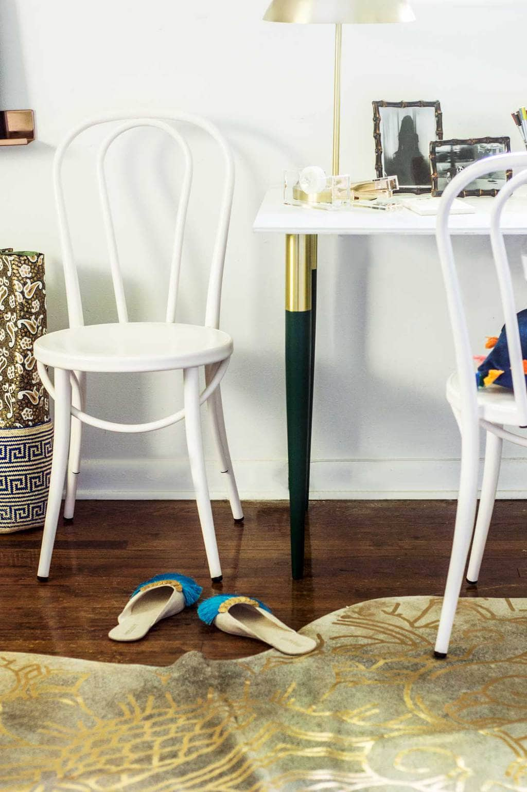 Desk with green and gold PrettyPegs table legs and white bistro chair on Thou Swell @thouswellblog