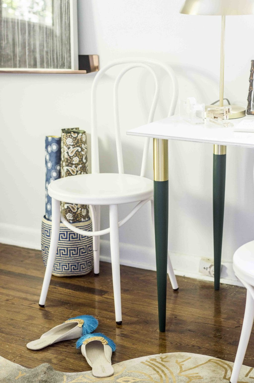Blue and green bedroom makeover, white bistro chair and green and gold table legs on Thou Swell @thouswellblog