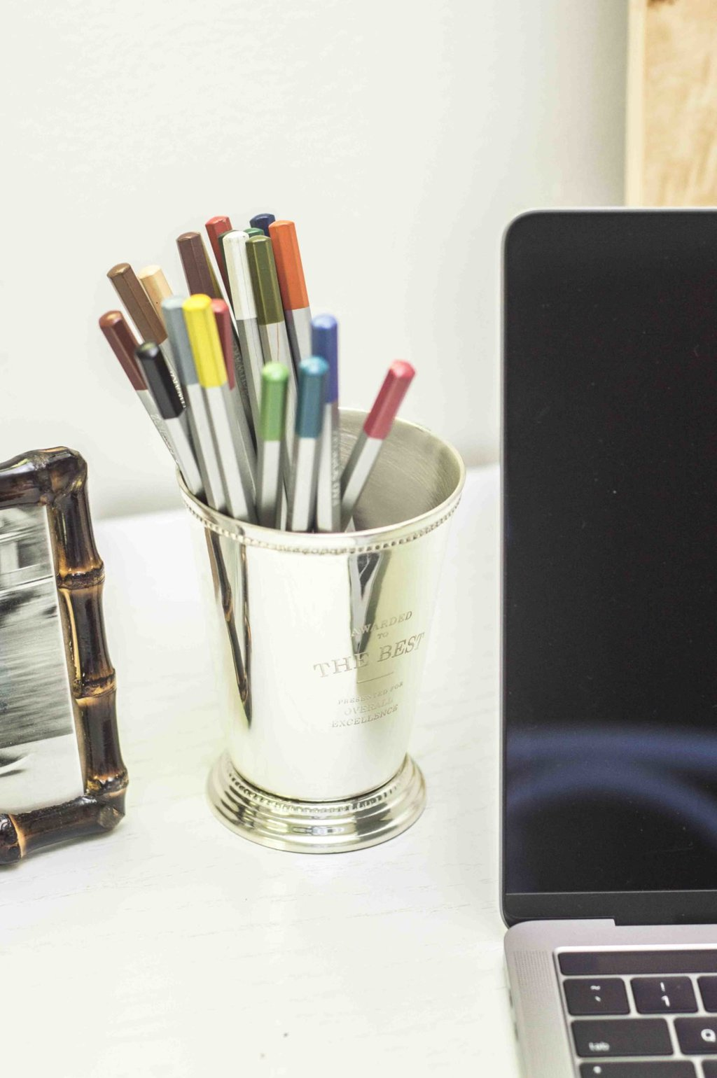 Silver cup pencil holder from Waiting on Martha via Thou Swell @thouswellblog
