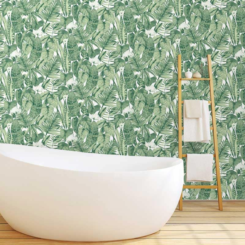Tropical banana leaf removable wallpaper on Thou Swell @thouswellblog