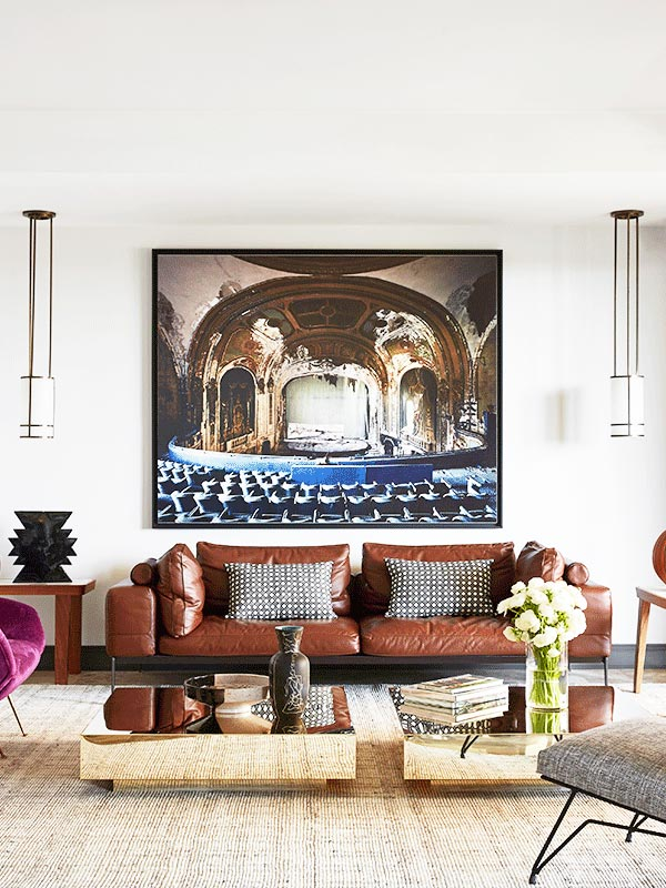 A Glamorous Monaco Living Room With Modern Leather Sofa And Brass Coffee  Tables On Thou Swell