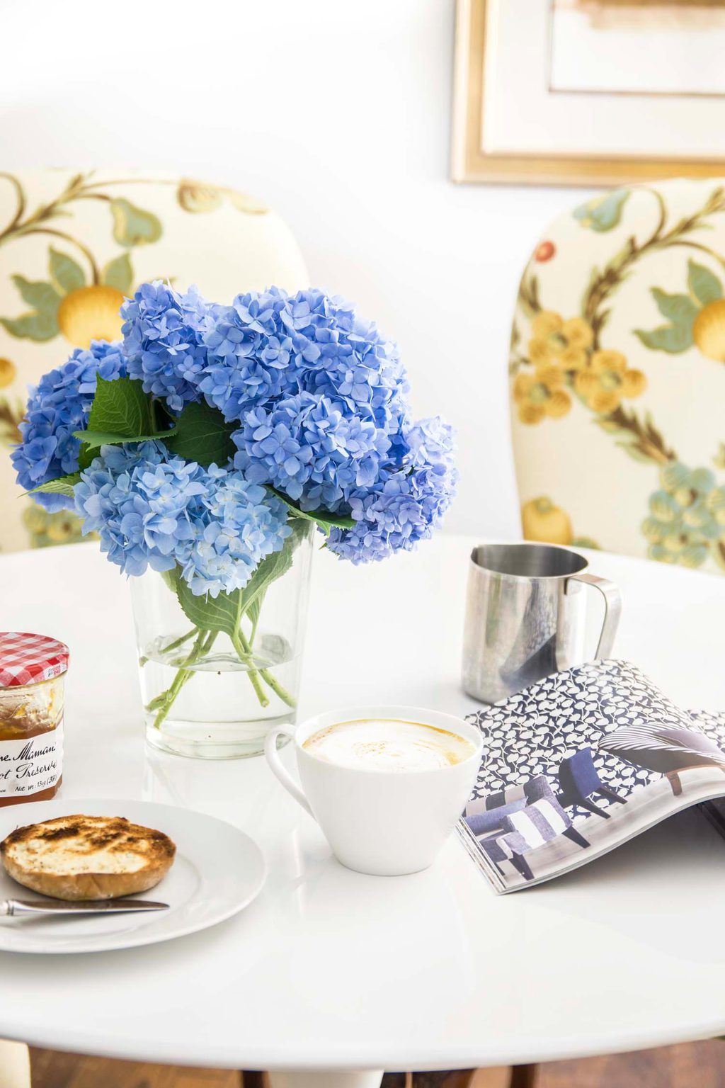 Morning breakfast with blue hydrangeas and Hive smart home devices on Thou Swell @thouswellblog