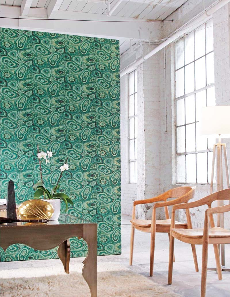 Green malachite removable wallpaper on Thou Swell @thouswellblog