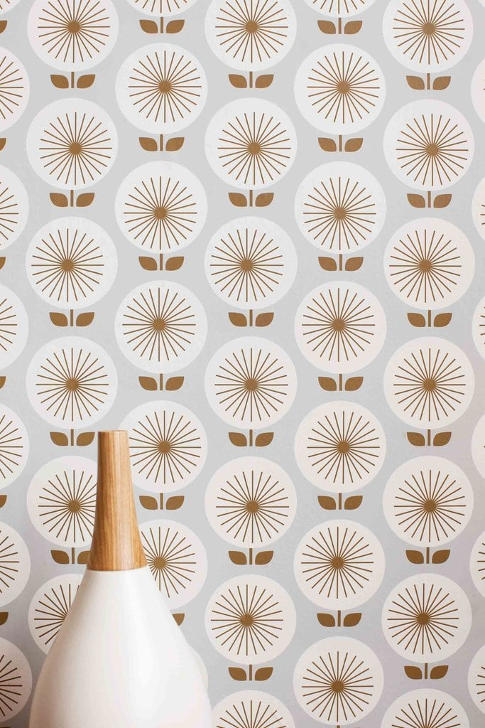 Sunburst floral retro removable wallpaper on Thou Swell @thouswellblog