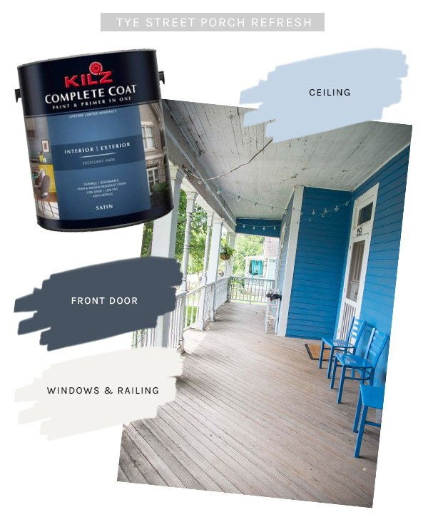 Porch refresh paint palette with @KILZbrand COMPLETE COAT indoor/outdoor paint and primer in one on Thou Swell @thouswellblog #KILZGetStarted #IC #ad